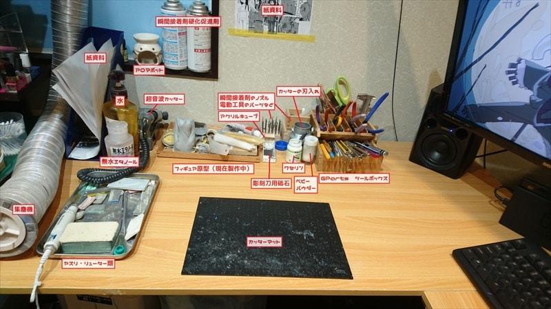 模型部屋作業机側